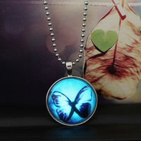 Glow in the dark Steampunk Necklace Butterfly Glowing Necklace Glass Jewelry Cabochon Magic Fire dust necklaces&pendants Women