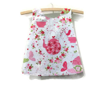 Strawberry teaparty pink and white baby pinny, size 00 baby dress, upcycled mint green lining, baby size 3 - 6 months, handmade eco friendly