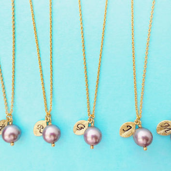 Set of 5 Mauve, Pearl, Bridesmaid, Pearl, Initial Necklaces, One, Pearl, Single, Pearl, Pendant, Necklaces, 5 Bridesmaid, Necklaces