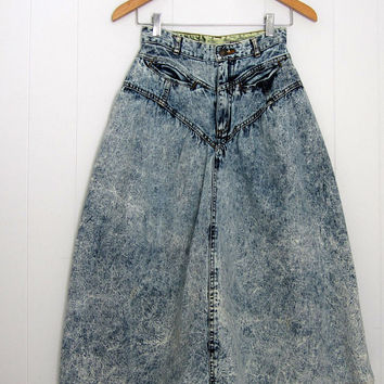 80s Vintage High Waisted Skirt Acid Wash Blue Denim Jean Grunge Punk XS Tiny 22""