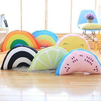 Soft Half Round Series Plush Pillow Stuffed Rainbow Smiley Face& Fruits Toys Cushion Lovely Kids Doll Waist Pillow Home Decor