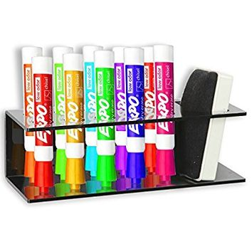 Black Acrylic Wall Mountable 10 Slot Dry Erase Marker & Eraser Holder Organizer Rack - MyGift®