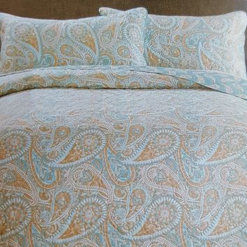 "Comfortable Elegance Teal Paisley Queen Size Reversible 3-Piece Quilt Set: 1 Quilt (86"" x 86"") and 2 Pillow Shams (20"" x 26"")"
