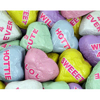 Foiled Conversation Milk Chocolate Candy Hearts: 4LB Bag