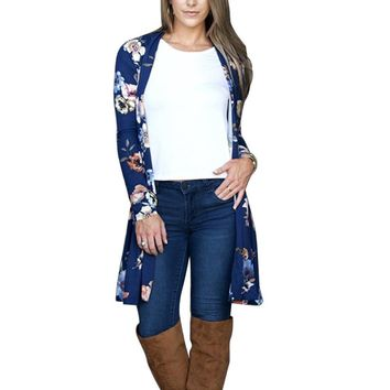 Sloan Knee Length Knit Floral Cardigan