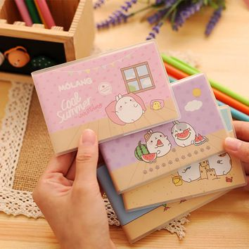 Kawaii Japanese Anime Molang Rabbit Small Pocket Notebook PVC Note Book Paper For School Student Stationery Store Or Travelers