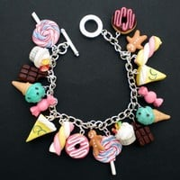 Kawaii Loaded Sweets and Desserts Charm Bracelet on silver plated chain