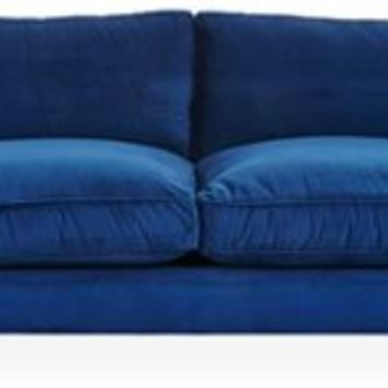 Sherlock Velvet Sofa, Royal Blue, Sofas & Loveseats