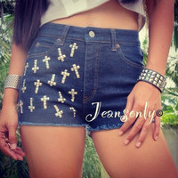 High waist studded cross denim shorts by Jeansonly