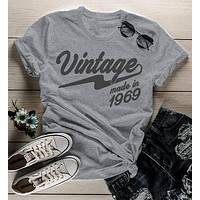 Women's Vintage T Shirt 1969 Birthday Made In Shirt 50th Birthday Tee Retro Gift Idea Vintage Tee