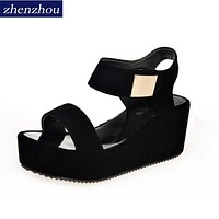 Woman Summer Sandals Woman Shoes  Platform With High Heel Wedge Sandals