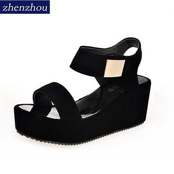 Free shipping 2017 Women shoes summer new style women's sandals platform with a high heel and a wedge with a pair of sandals
