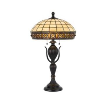 2-Light 27.5'' Dark Bronze Incandescent Table Lamp With Stained Glass Art Deco