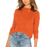 Tularosa Distressed Crew Neck Sweater in Coral