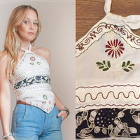 70s Indian Embroidered Hippie Halter Top - Small Medium | Boho Chic Rayon India Festival Gypsy Blouse Crop Top Sexy White Peasant Tank Top