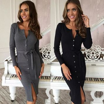 Fashion Ladies Round Neck Long Sleeved Slim Front Buckle Belt Dress