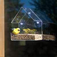 Evelots Clear Acrylic Bird Window Feeder, Strong All Weather Suction Cups