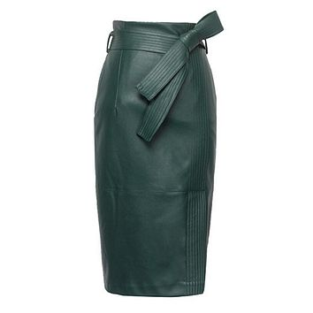 PU Leather Women Plus Size Winter Sexy High Waist Skirts