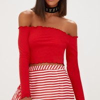 Red Frill Edge Crop Top