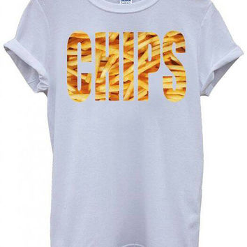 Chips Fries White Unisex Tshirt Top Funny