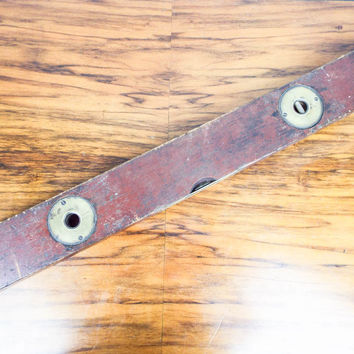 "Antique Primitive Stanley Carpenters 26.5"" Level Tool Brass & Wood USA Made"