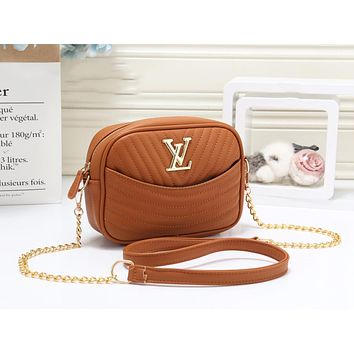 Louis Vuitton LV Fashion New Leather Chain Shopping Leisure Crossbody Bag Shoulder Bag Women Brown