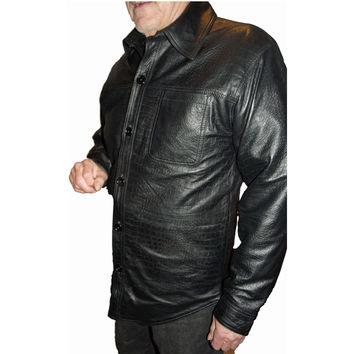 Mens Leather Shirt Black Snakeskin Python Embossed Casual LS Nappa Sheepskin