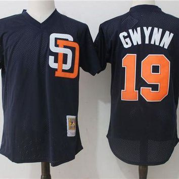 ONETOW Men's San Diego Padres Tony Gwynn Mitchell & Ness Navy Cooperstown Mesh Batting Practice Jersey