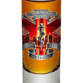 WE WILL NEVER FORGET  9-11 - EMS  RED FIRE AND SNAKE- NEW-  2 OZ. SHOT GLASS