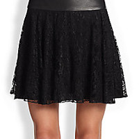 Alice + Olivia - Shawnee Flared Lace & Leather Skirt - Saks Fifth Avenue Mobile