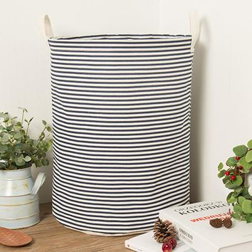 Dark Blue Stripe Foldable Cloth Laundry Hamper Toy Storage Basket