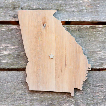 Georgia state shape wood cutout wall art handcrafted from repurposed Oak flooring 12x16 in. Wedding Housewarming Cabin Rustic Gift Decor
