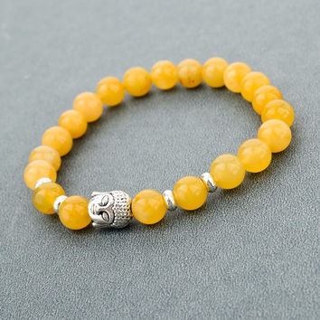 Natural Stone bead Buddha Bracelets For Women Men Gold Plated Buddha Turquoise Black bracelet Jewelry