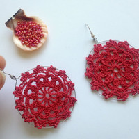 Brick Red Earrings, Crochet Snowflake Hoop Earrings, Tribal Hoops, Beach Jewelry, Cotton Thread Gypsy Earrings, Bohemian Accessories