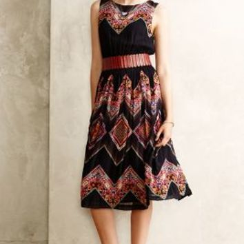 Patchworked Chevron Midi Dress by Tanvi Kedia Black Motif