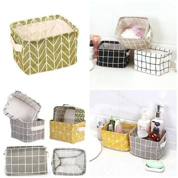 New Design Geometry Pattern Desk Storage Box Cotton Linen Organizer Basket Foldable Cosmetic Case