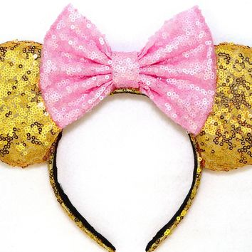 Gold Sequin Ears and Baby Pink Bow