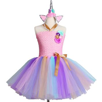 Kids Girls Unicorn Tutu Dress for Halloween Birthday Party Dress Children Girls Princess Flower Rainbow Unicorn Costume Clothes