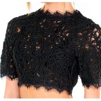 Pillay Black Lace Crop Top - Jaide Clothing