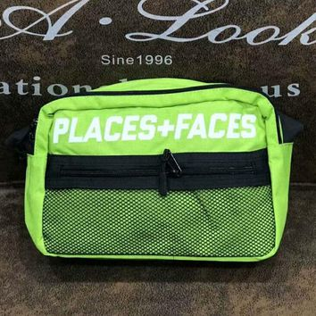 Places & Faces New fashion single shoulder bag oblique straddle bag men and women wallet small waist bag Green