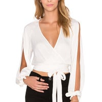 BEC&BRIDGE Shifting Sands Long Sleeve Wrap Top in Ivory