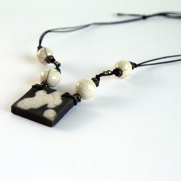 black white necklace in raku pottery geometric ceramic jewelry for bridesmaid
