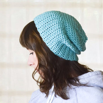 Turquoise Beanie Skull Cap Crochet Hat Mint Blue Accessory Women Knit Fall Accessories Winter Fashion Nautical Style Handmade Gift Under 20