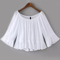 White Angel Sleeve Ruffled Pleated Top