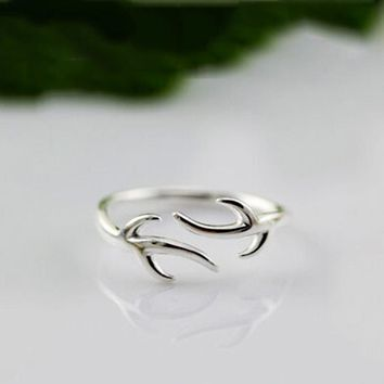 925 Sterling Silver Deer Antlers Open Ring Accessories