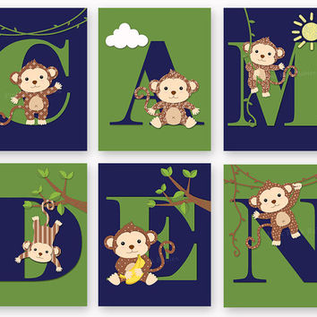 Monkey baby boy name art personalized nursery letters custom wall decor letterpress poster typography navy blue green shower toddler gift