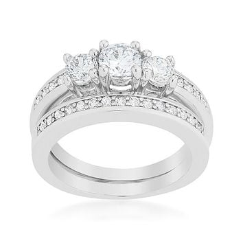 Raquel Three Round Cut Engagement and Wedding Ring Set | 2.2 Carat | Cubic Zirconia