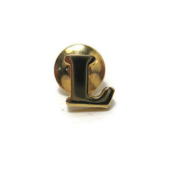 Avon Letter Initial L Vintage Tie Tack Lapel Pin Gold Tone Mens Retro Formal Jewelry Guy Gift