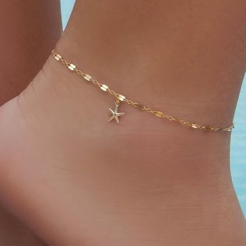 Cute Women Ankle Bracelet Ladies Anklet Ankle Chain Leg Jewelry Gold Silver Color Starfish