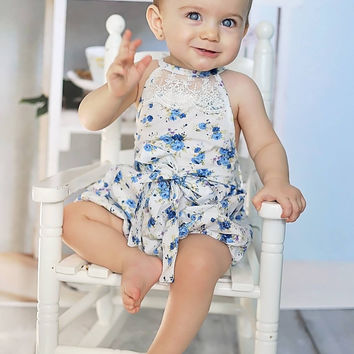 Country Girl Vintage Lace Bubble Romper Blue Floral - Infant & Baby Sizes!